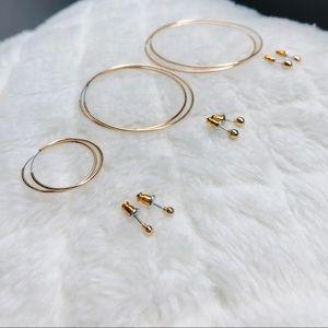 FINAL price🛑3 sets of Gold Color Hoop Stud Earrin